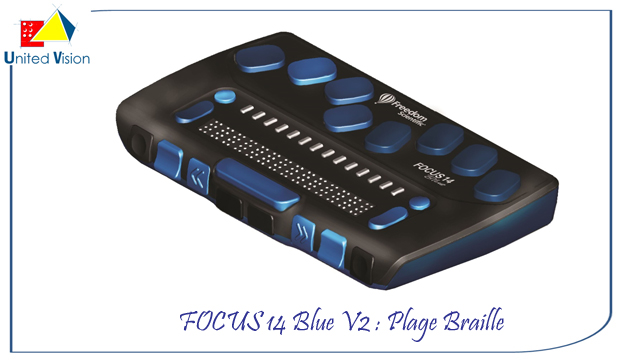 focus 14 blue v2 14 caracteres : plage Braille
